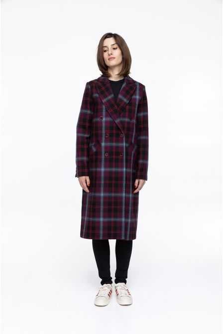 wine long and straight check  coat in  wool