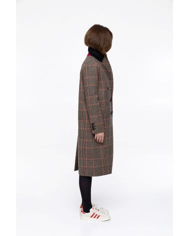 camel and black long and straight check coat in wool