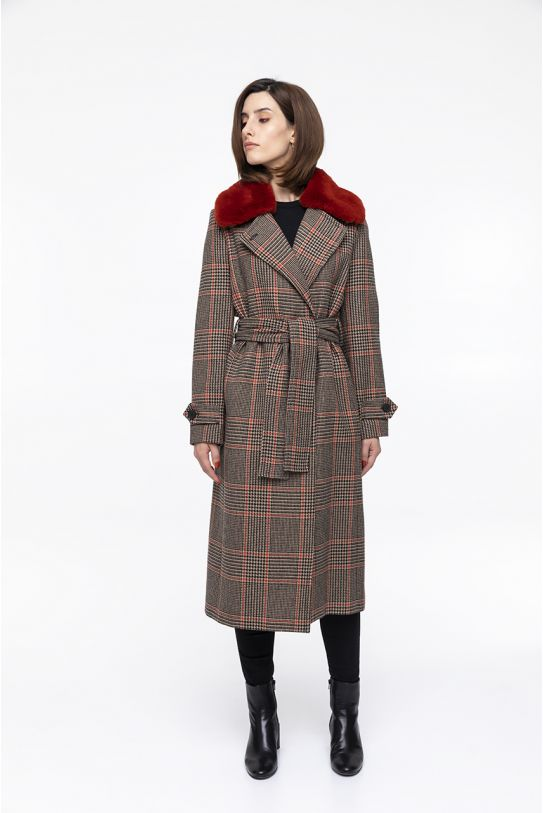 Long belted  camel and black  check coat with wool