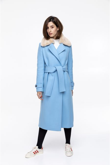 Long bellted coat in sky blue wool with fake fur collar