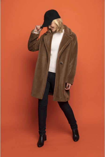short glossy brown fur coat in wool