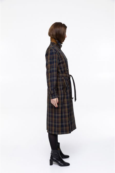 long navy blue check  raincoat in waxed cotton