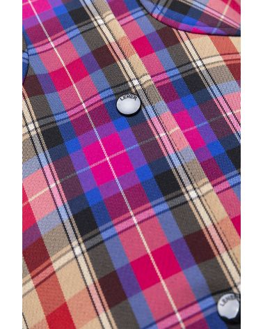 coloured check stand collar coat