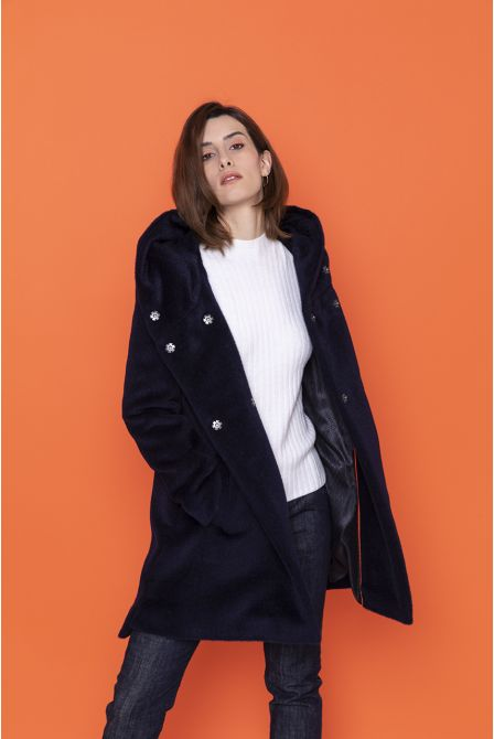 navy blue  coat in alpaca woll with hood