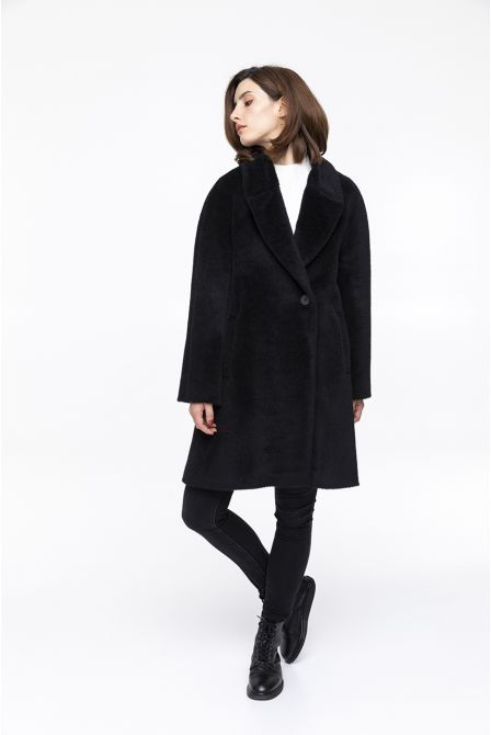 black flared coat in alpac wool