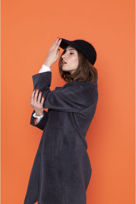 steel grey  flared coat in alpac wool