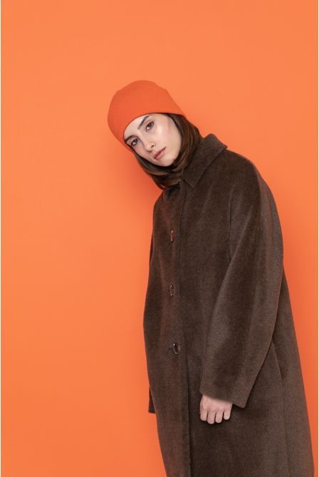 brown hairy coat in alpaca wool for woman