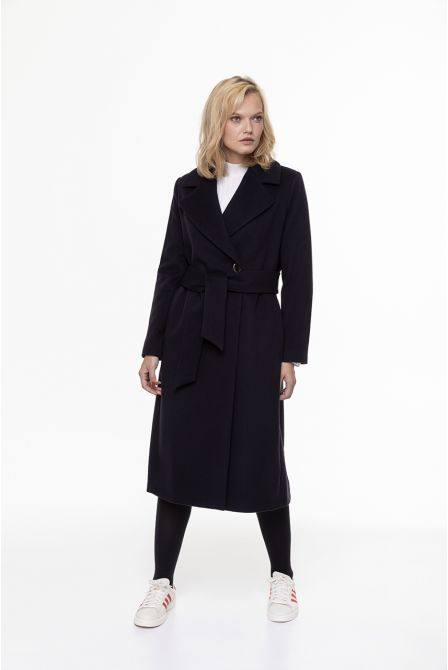 long belted navy blue coat in 100% cashmere