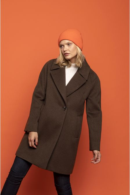 brown flared coat in 100% cashmere