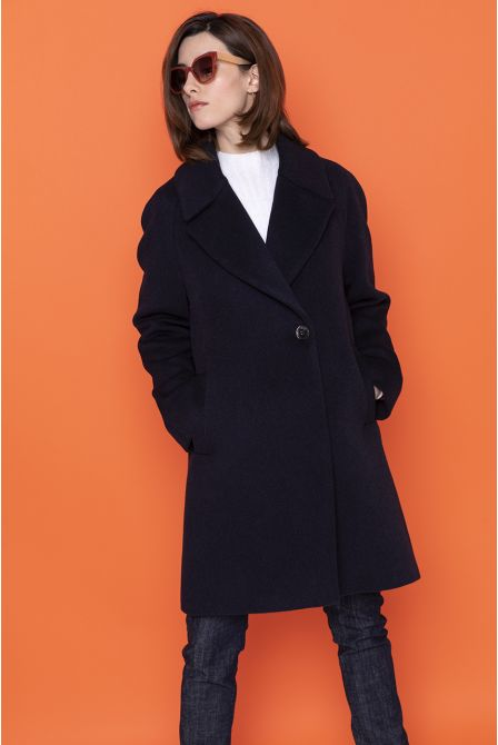 navy flared coat in 100% cashmere