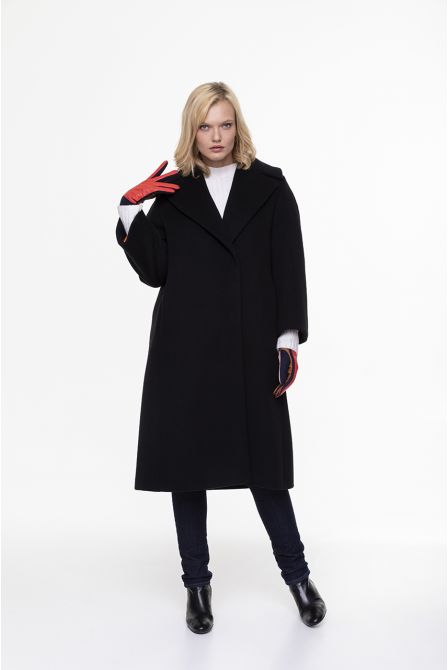 black  flared long coat in 100% cashmere