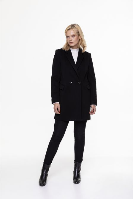 black frock coat in 100% cashmere