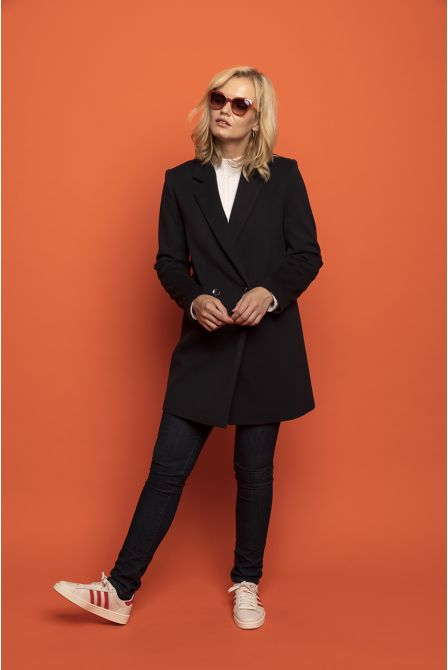 navy blue  frock coat in 100% cashmere