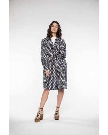 Woman oversized Trench in marine & beige dots