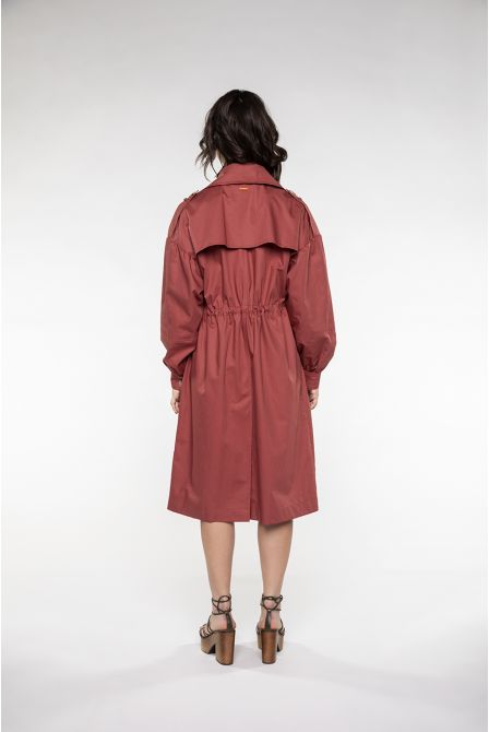 Oversized Trench in light terracota cotton