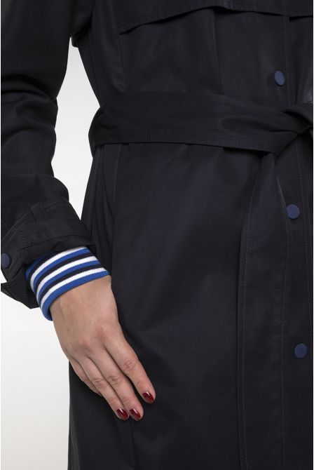 Straight sporty Trench in navy blue cotton