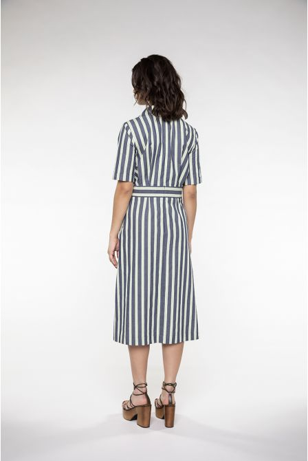 Long and blue-green striped shirtdress