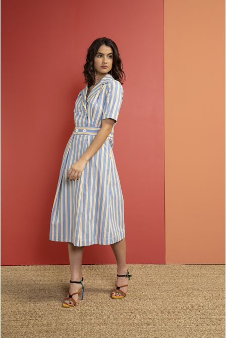 long and light blue-yellow striped shirtdress