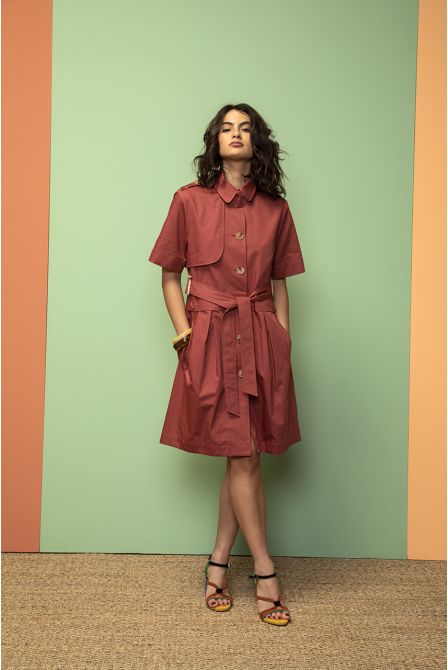 Robe trench manches courtes terracotta