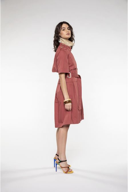 Trench dress with short sleeves