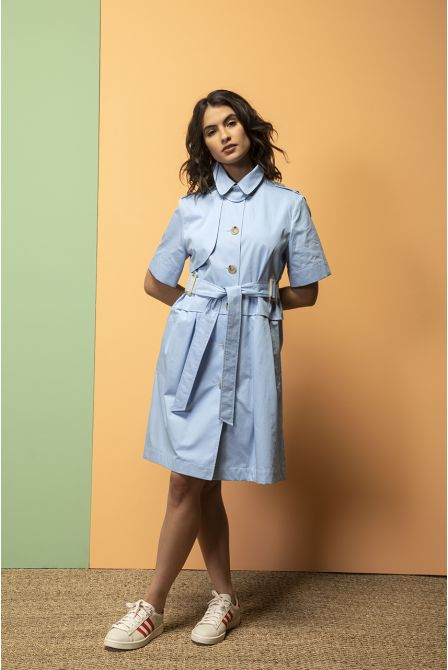 Robe trench manches courtes ciel