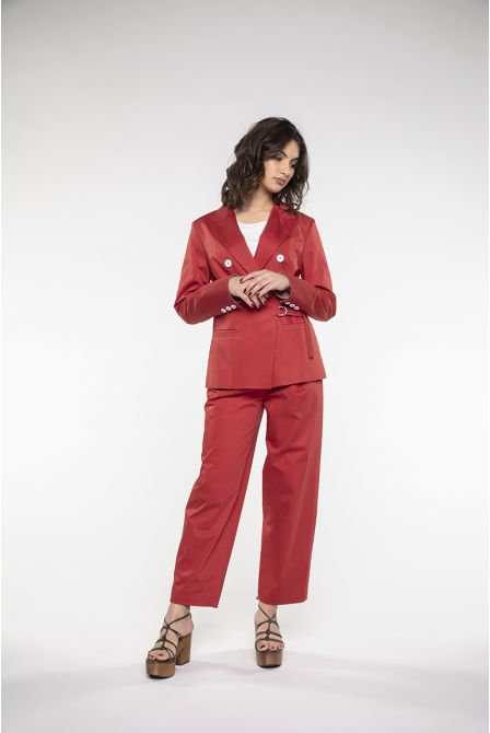 Fitted jacket in red stretch cotton