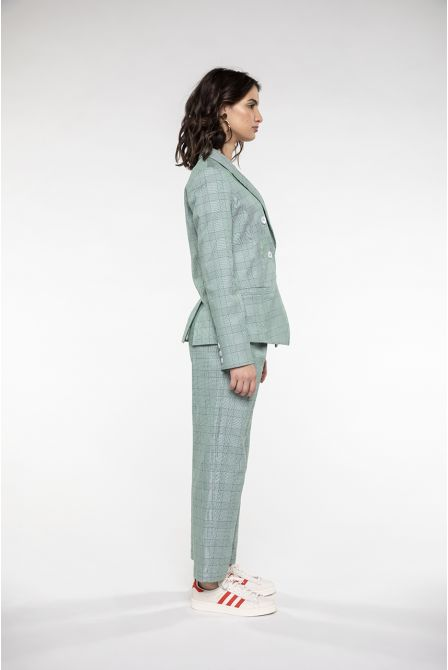 Fitted jacket in green Prince of wales