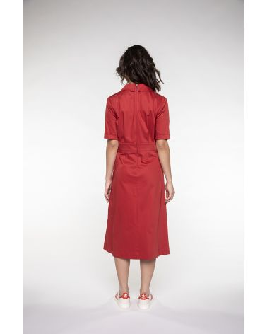 long red shirtdress fitted at the waist