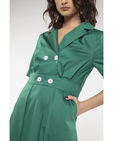 long green shirtdress fitted at the waist