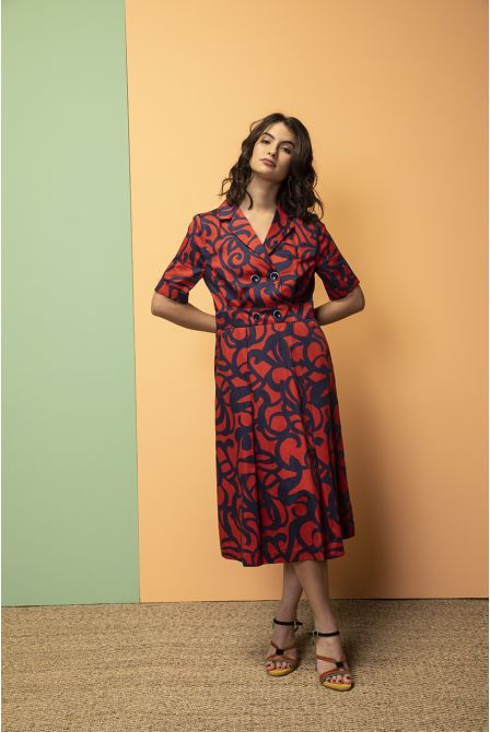 long red and navy print shirtdress fitted at the waist