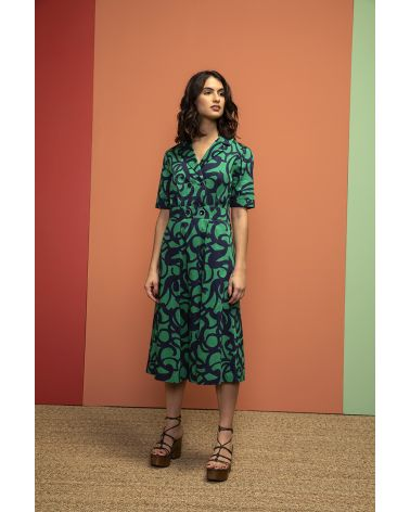 long green ansd navy print shirtdress fitted at the waist