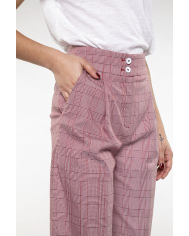 Short wide trouser in red prince of Wales
