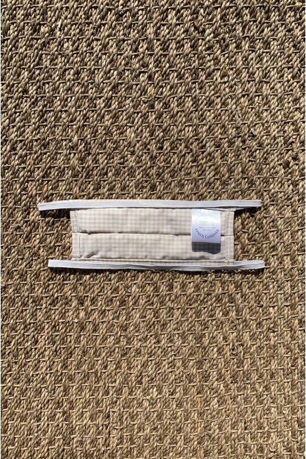 Packs of 2 gingham beige barrier mask with golden stars