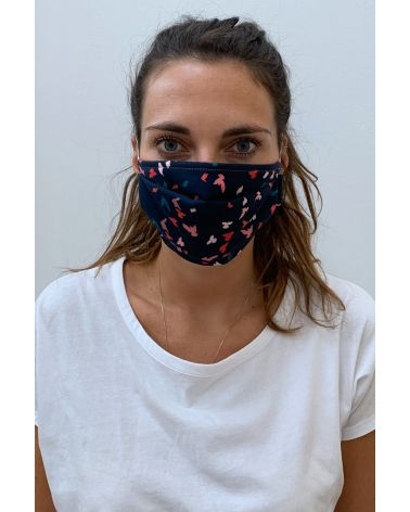 Packs of 2 black barrier mask with multicolor birds print