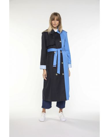Trench in two-tone navy and azure cotton gabardine