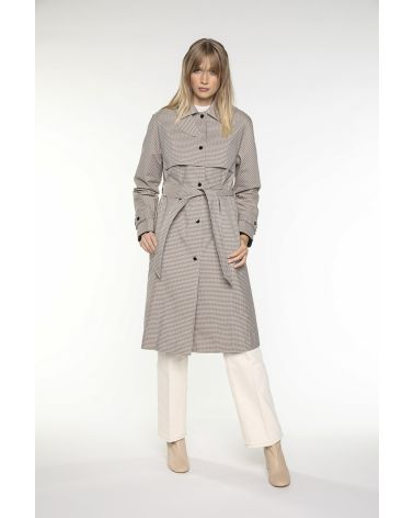 Straight sporty Trench in beige-green mini-dogtooth check