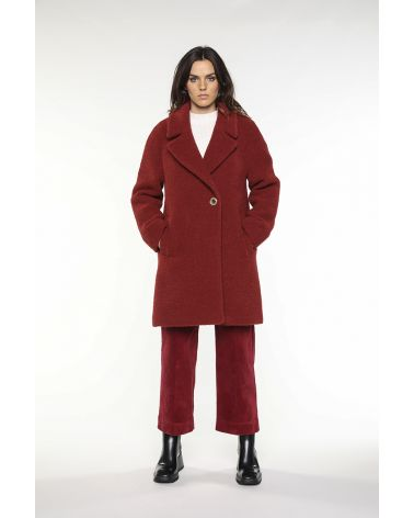 Fig color flared boucle coat in virgin wool