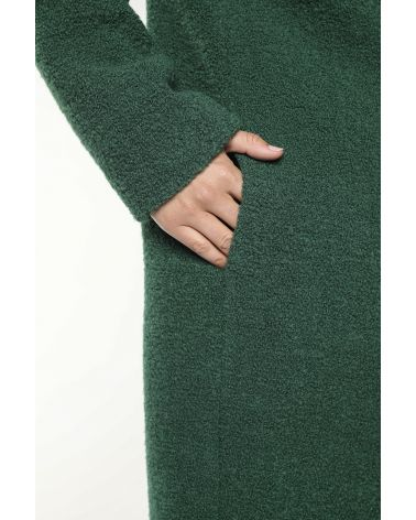 Green bouclette wool coat with a shawl collar