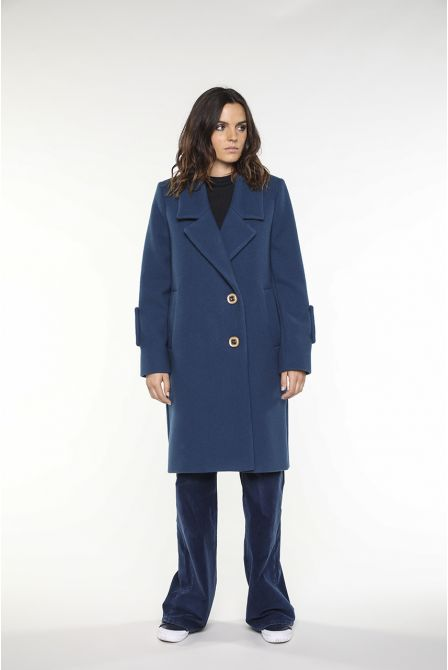 Overcoat in mallar blue virgin wool for women