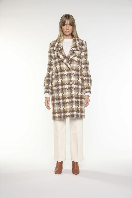 Overcoat in brown creme virgin wool for women