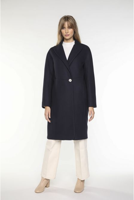 Mid-length Coat in navy virgin wool for women