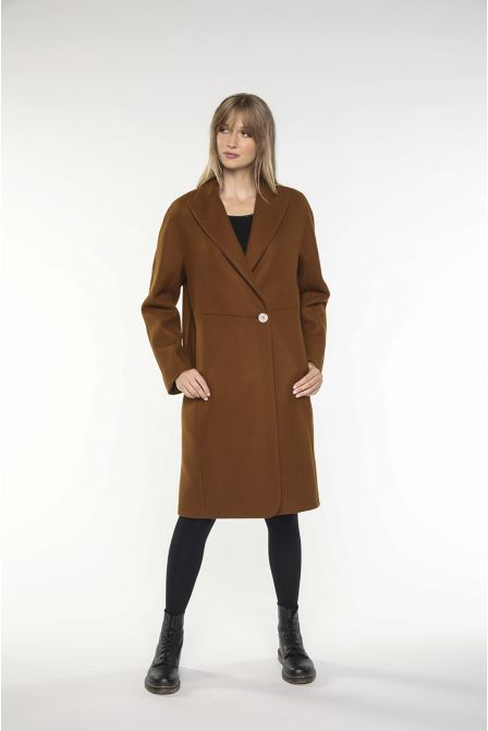 Mid-length Coat in brown virgin wool for women