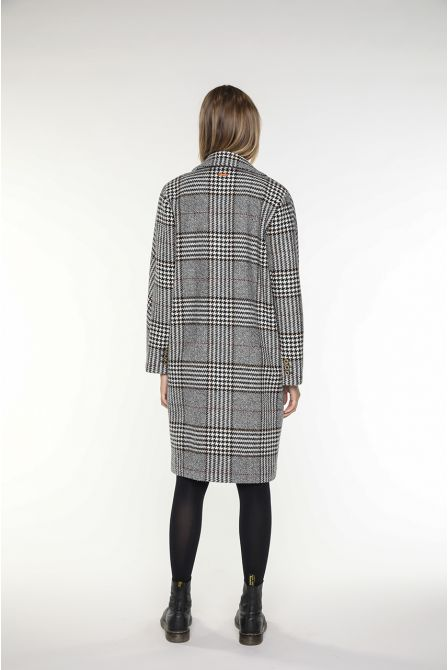 Mid-length Coat in balck and creme checks virgin wool for women