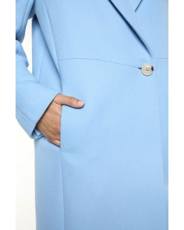 Mid-length Coat in sky blue virgin wool for women