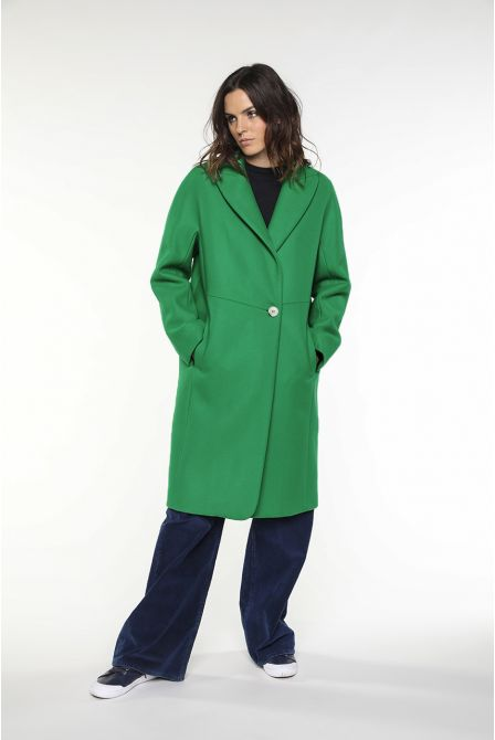 Mid-length Coat in green virgin wool for women