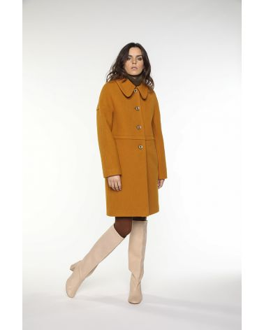 Preppy coat in safran yellow virgin wool