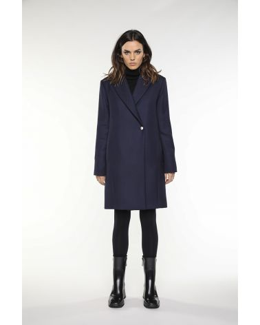 Overcoat in navy blue virgin wool for women