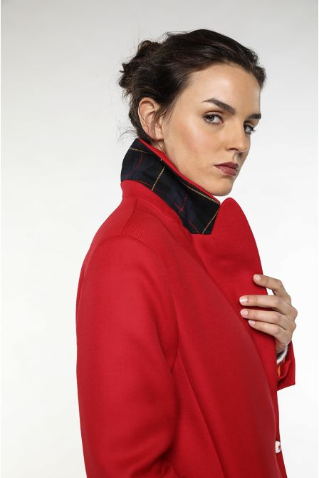Overcoat in red virgin wool for women