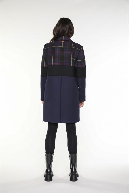 Overcoat in navy blue, black and tartan virgin wool