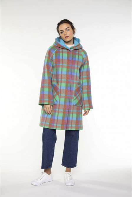 Hoody coat in wool and alpaca blue and green ckecks